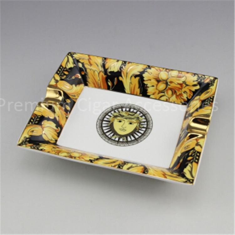 china Square Large Size Premium Porcelain Decal High Quality Luxury Cool Cigar Ashtray Ceramic(China (Mainland))