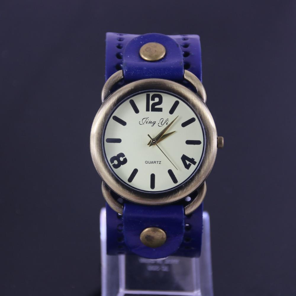 Fashion Genuine Leather Strap Vintage Watch Big Dial Men Cow Casual Wristwatch - Guangzhou Jinyin Trading Co., Ltd store