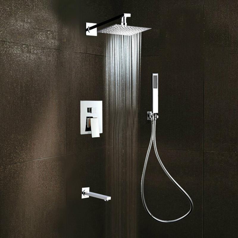 Square Rain Shower Head Faucet 3 Ways Valve Mixer Tap Tub Spout Hand Shower I