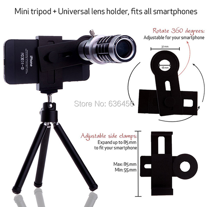 Magnification Distance:500M 12x Zoom Telephoto Tripod Camera Phone Lens For LG G2 G3 /For Huawei/For HTC/For Lenovo Smartphone(China (Mainland))