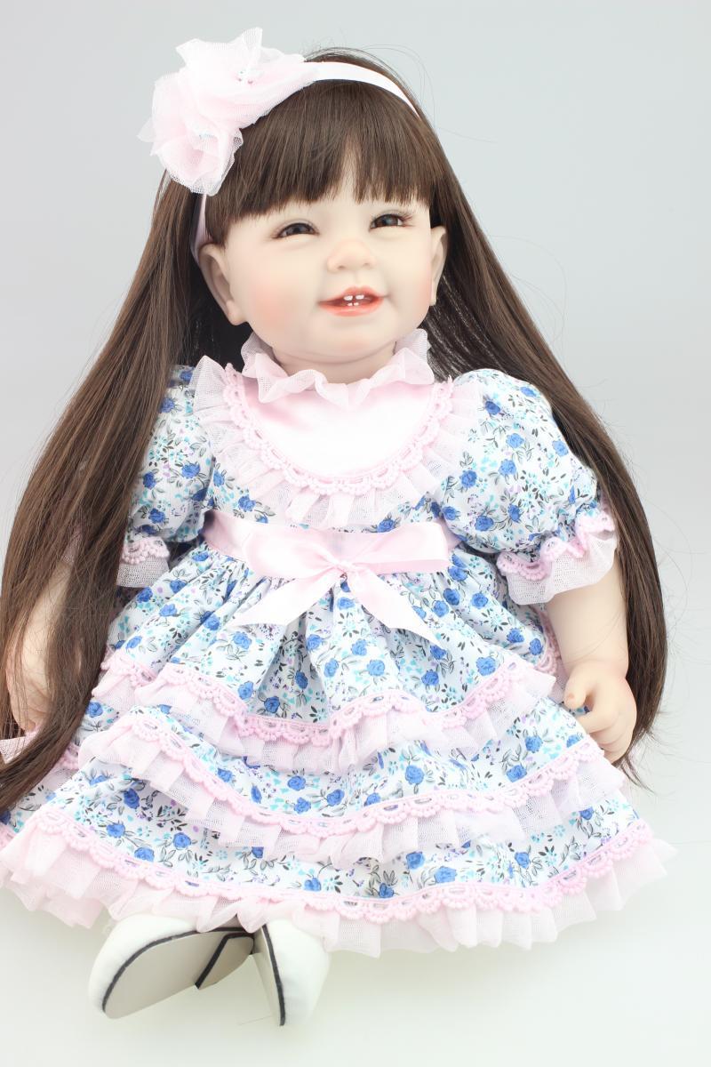 22 inch 55cm real girl doll reborn baby toys long hair princess bonecas best girls toys birthday gift