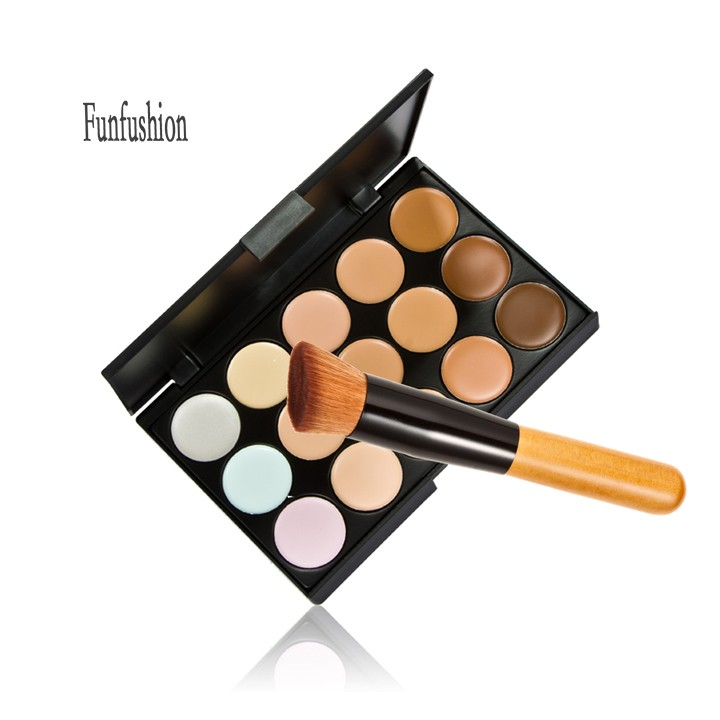 Women Supply Camouflage 15 Colors Neutral Makeup Concealer Foundation Cream Face Care Base Cosmetic Palette Tool With Brush(China (Mainland))