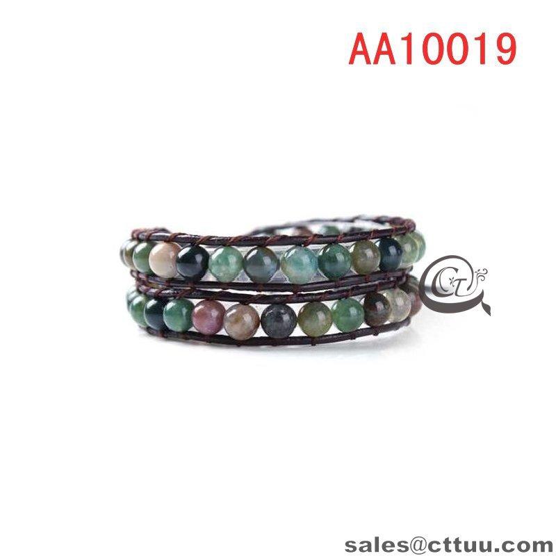 Free shipping!fashion wrap bracelets,leather bracelet wraps,natural stone wrap bracelets,New weaving leather 2 wrap bracelet(China (Mainland))