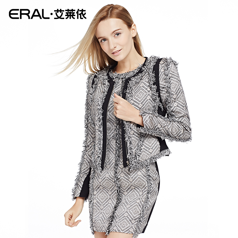 ERAL 2016 Spring Women's Slim Tweed Long-sleeve Short  Geometric Jacket Outerwear ERAL30011-ECAA