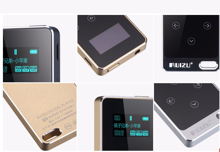 2015 Metal HIFI MP3 Player with 8GB storage and Screen Touch button play 100h high quality Lossless sound quality sport mp3