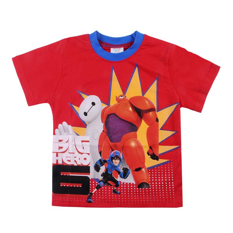 2015 New boys tee shirts best quality fashion big hero cartoon print short sleeves t-shirt Kids 100% cotton tees Baby boy tops - richeng wang's Digital store
