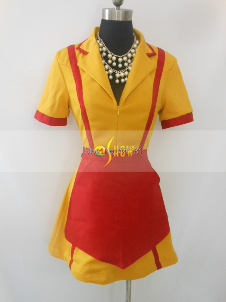 Hot Quality TV Show 2 Broke Girls Max Caroline Dress Cosplay Sexy Adult Women Uniform Costume With Necklace Chest Card Pin(China (Mainland))
