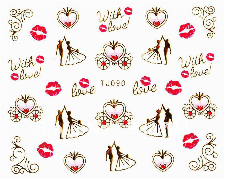 products 2015 Romantic Valentine's day Fashion Popular 3d nail art stickers Gold sticker TJ085-108 - Elaine's Beauty Online Store store