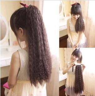Fashion Women Ponytails Hair Extensions Black Brown Blonde Long Curly Ponytail Synthetic Pony Tail Extension Wavy Hairpiece - Xuchang Avril technology store