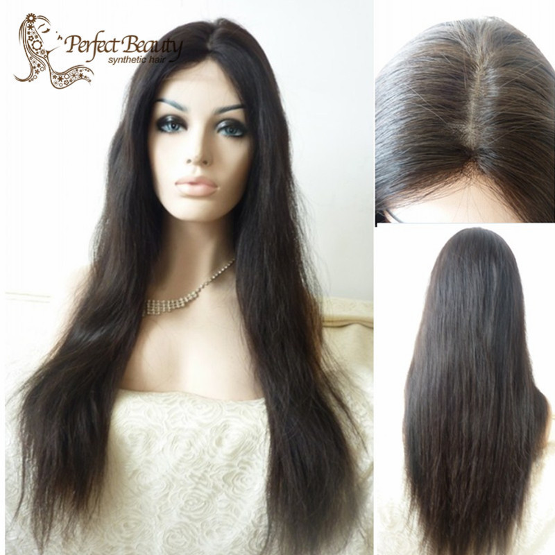 natural Straight Natural Black Long Synthetic Lace Front Wig Glueless1B Color Heat Resistant Hair Wigs/Free Shipping New<br><br>Aliexpress