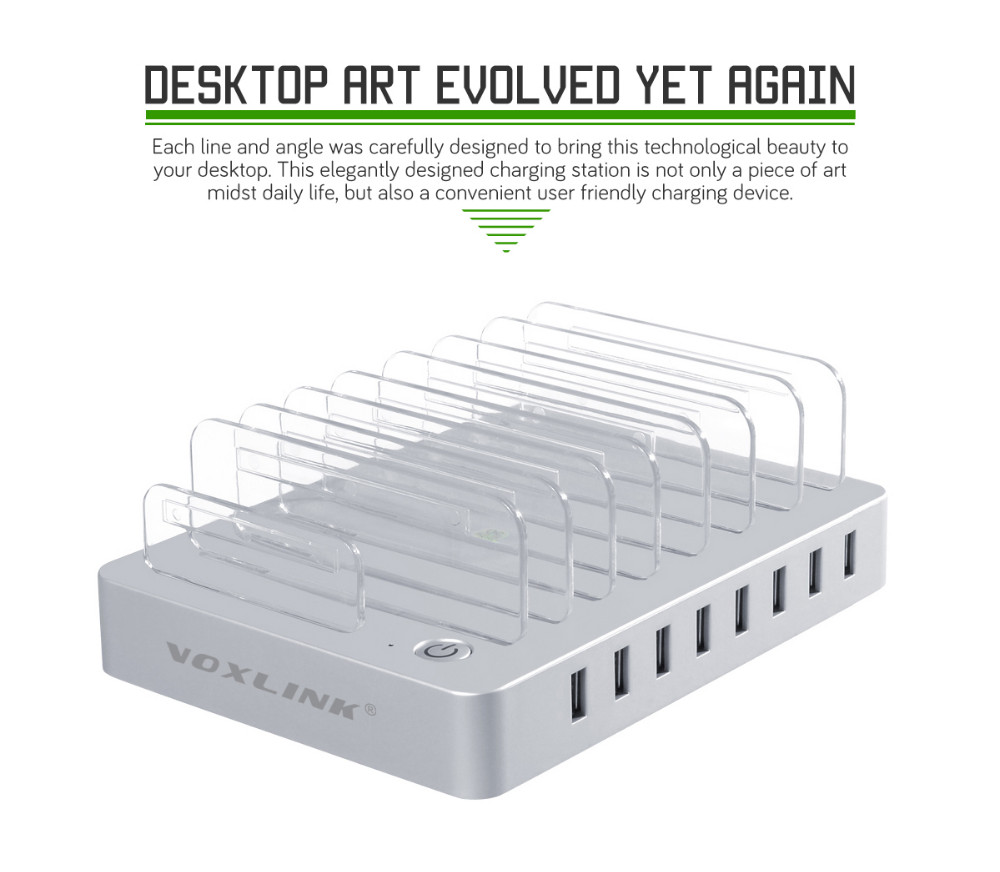 VOXLINK 96W 8 Ports Desktop USB Charger Multi-Function USB Charging Station Dock with Stand Holder For Mobile Phone Tablet PC