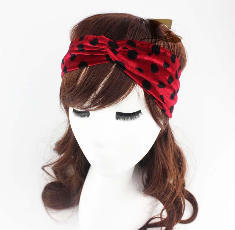 NEW FASHION velvet dot print Headbands Turban Bandana twist Hairband HB-59(China (Mainland))