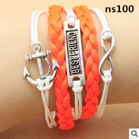 S100 2015 Vintage Fashion Women Jewelry Leather Double Infinite Multilayer Bracelets Factory Price Wholesales(China (Mainland))