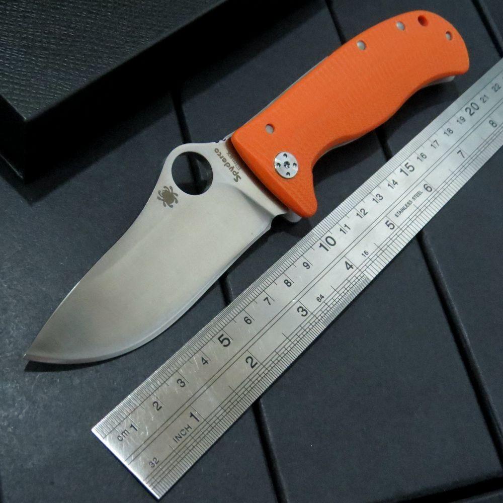 Buy Hot Selling Orange C157 Flipper folding knives LionSpy G-10 Titanium Elmax Plain Edge C157GTIP Camping Pocket knife cheap