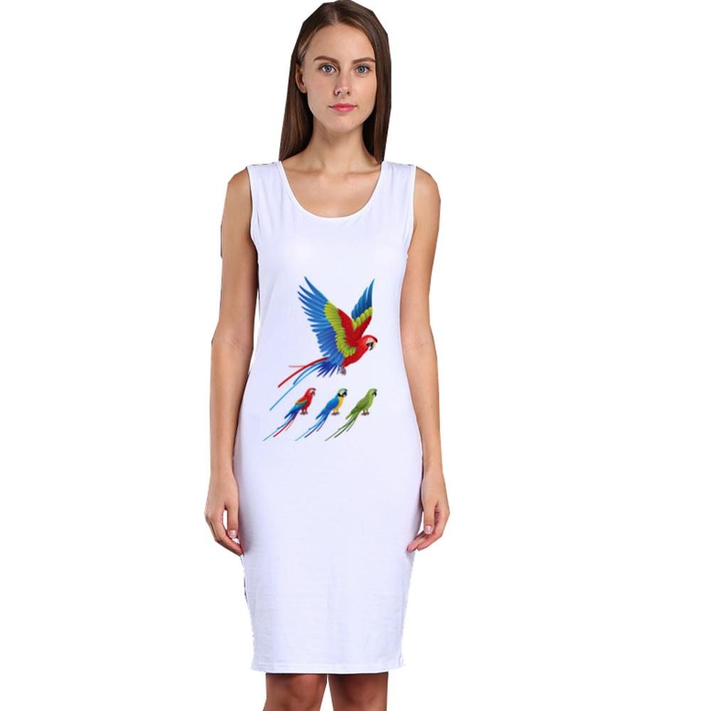 Vestidos Summer Dress 2017 Women Bodycon Plus Size Cotton Sleeveless White Dress Fashion Casual Bird Print Party Club Dresses(China (Mainland))