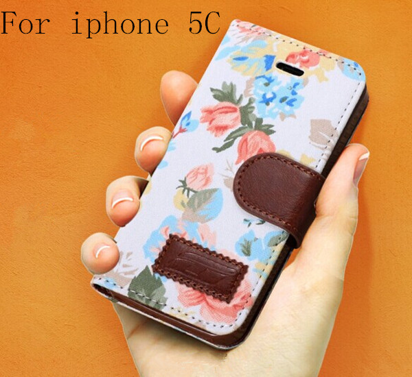 Flower Floral Design Flip Leather Case for Iphone 5c Countryside Cloth+PU Leather Cover Hot Sell New Arrival On Market(China (Mainland))