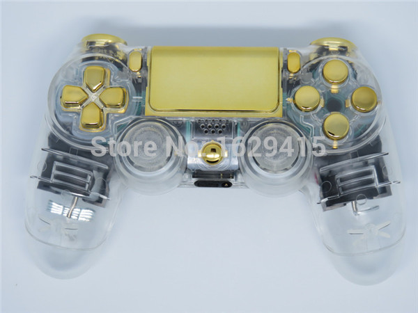 GameMod Custom Crystal Clear Controller Shell With Gold Full Buttons Mod Kit For Sony Dualshock 4 PS4 Wireless Control<br><br>Aliexpress