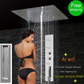 Luxury LED Bathroom Shower mixer Massage Jet Wall Mounted Bath Shower SPA Faucet Ceiling Rainfall Mist Bubble Shower Concealed