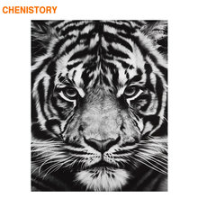 CHENISTORY Frame Tigers Animals DIY Painting By Numbers Black White Calligraphy Painting Acrylic Paint On Canvas For Home Decor(China)