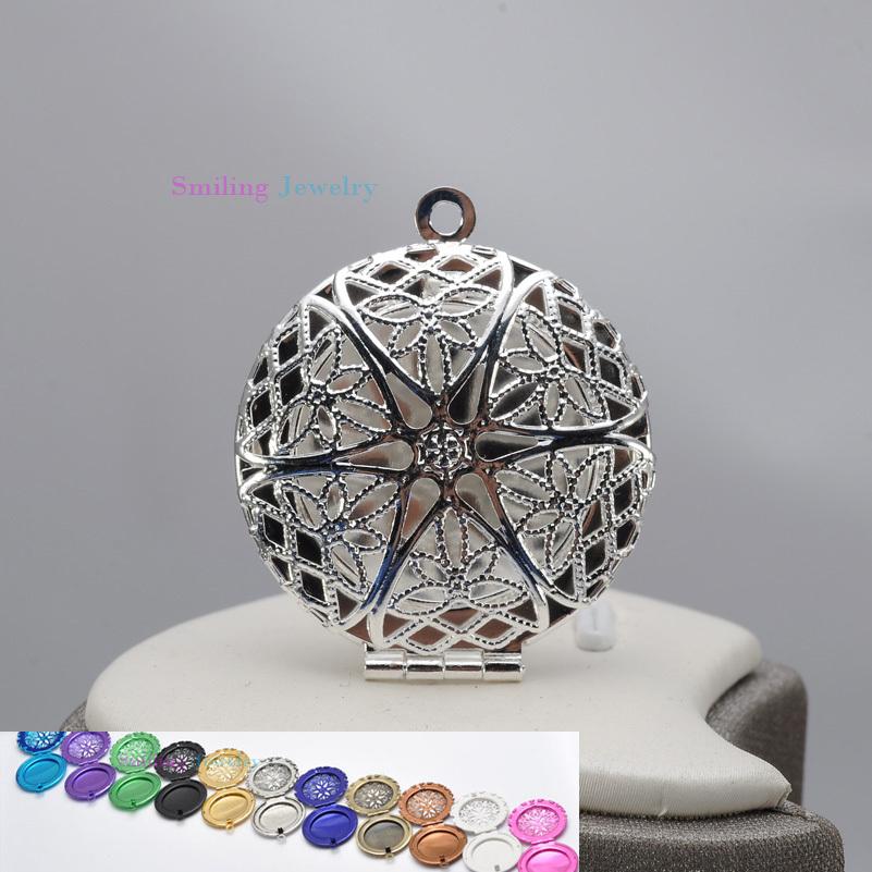 20pcs 27mm Mixed Perfume Lockets DIY Silver Plated Star Hollow Living Memory Photo Locket Pendants For