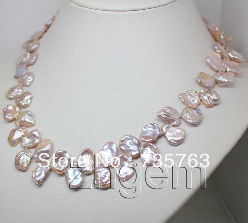 """DYY NEW N15 natural lavender keshi pearl strands necklace 18"""" long(China (Mainland))"""