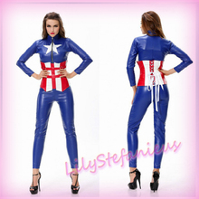Hot Adult Captain America Cosplay Costumes The Avengers Zentai Teddies Jumpsuits Female Leather Halloween Bodysuits