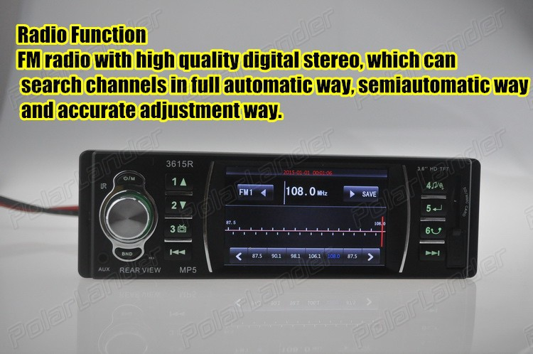 2015 New 3.3 inch HD TFT screen car radio 12V audio player mp5 car stereo remote control SD/USB/AUX IN Support rear view camera