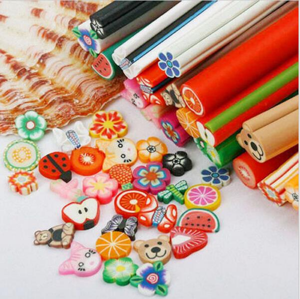 10 Pcs/Set 3D Nail Art tools Fimo Canes Stick Rods Polymer Clay nail Stickers Decora Beauty M17(China (Mainland))