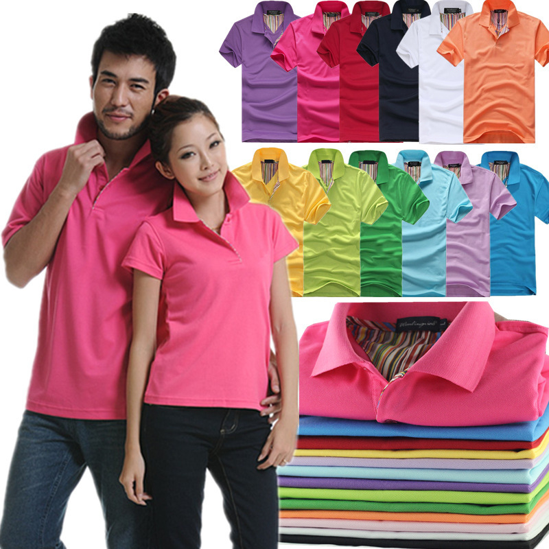 2016 Fashion Unisex Turn Down Button Polo Shirt Boy Plus Size Working Uniforms Party Activity Clothes Multi-colors Hiking Shirts