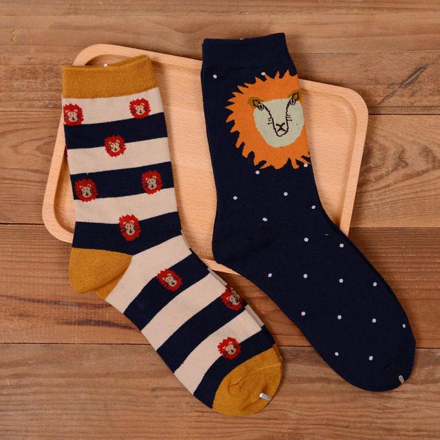 Марка Caramella новинка мужская и женская носки японский Harajuku голова льва животное долго носок забавный мультфильм хлопчатобумажные носки