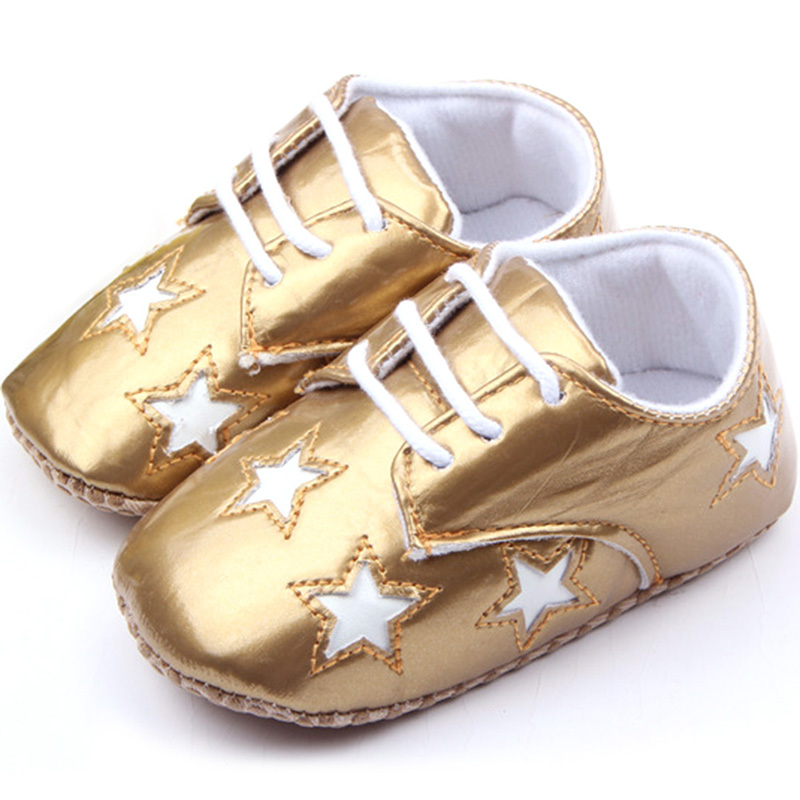 Baby Shoes Boys Girls Solid Star Pattern PU Leather First Walker Infant Toddler - -Sunflower- store