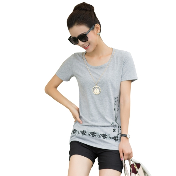 Black grey white t shirt women slim tees o neck ropa mujer for Large shirt neck size
