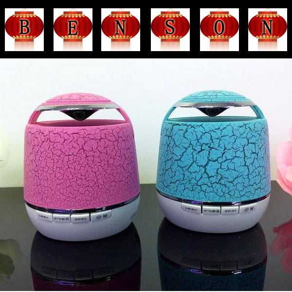 Crack Paint LED Wireless Bluetooth Speaker Lighting Portable Call S36 Mini Speakers Support FM Hands-free TF Card Music Player(China (Mainland))