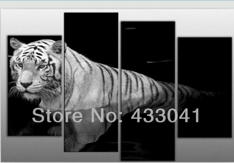 Hand Painted Modern Abstract White and Black Chinese Tiger Painting On Canvas Home Decoration Wall Art 4 Piece Sets For Sale(China (Mainland))