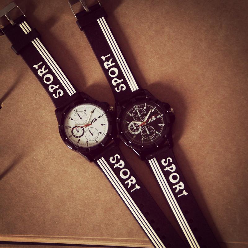 Classic White Black Stripped Sport Watches Student Boys Men Soft Silicone Band Quartz Analog Bracelet 1pc/lot - Shenzhen Vgood Trade Company.,Ltd store