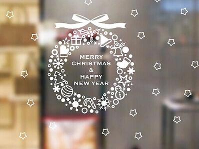 2packs/lot Length 64cm christmas wall sticker umbrella christmas decoration new year store decorative stickers natal(China (Mainland))
