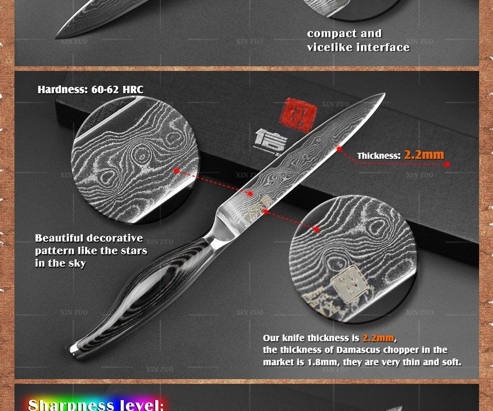 Buy 2 pcs kitchen knives Japanese VG10 Damascus steel kitchen knives set chef utility knife wood and steel  handle free shipping cheap