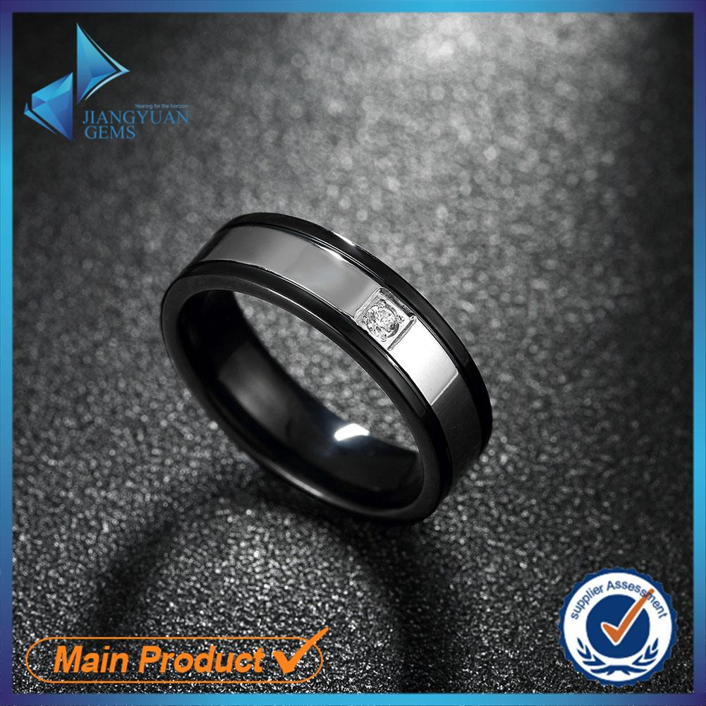 316L Titanium Steel CZ Stone Finger Ring Fashion Jewelry Cool Rock Style For Men Top Quality Size 7 # 8 # 9 # 10 # Free Shipping(China (Mainland))