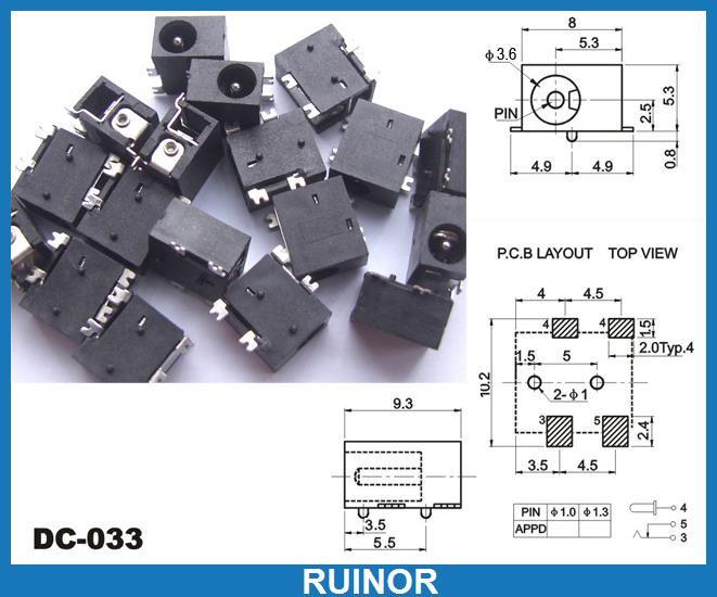 500pcs 4pin SMD 3.5mm x 1.3mm DC Socket Jack PCB Charger Power Plug Soldering<br><br>Aliexpress