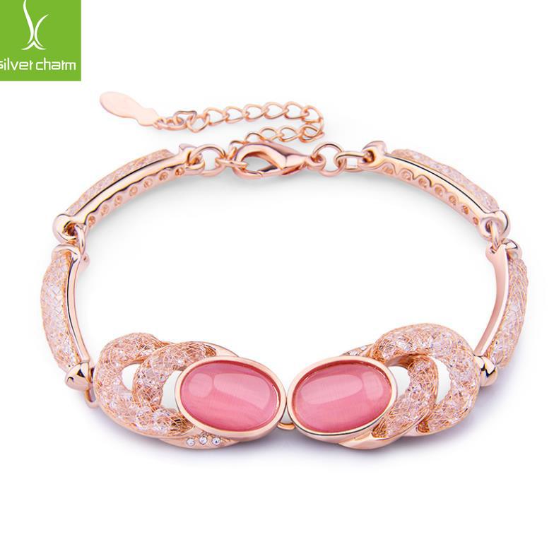 Hot Sale Jewelry Gift 18k Real Gold plated Cat's Eye Stone Opal Crystal Wrap Bracelet for Women Gem Luxury Bamoer XCKB029(China (Mainland))
