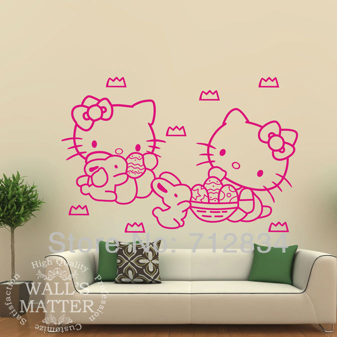 [B.Z.D] Free Shipping Vinyl Wall Art Decor Sticker Easter Hello Kitty Mural Kids Decals For Living Room 55x40cm(China (Mainland))