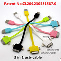 3 in 1 usb cable Charging and data sync Applicable to riphone5 smartphone celular android phone