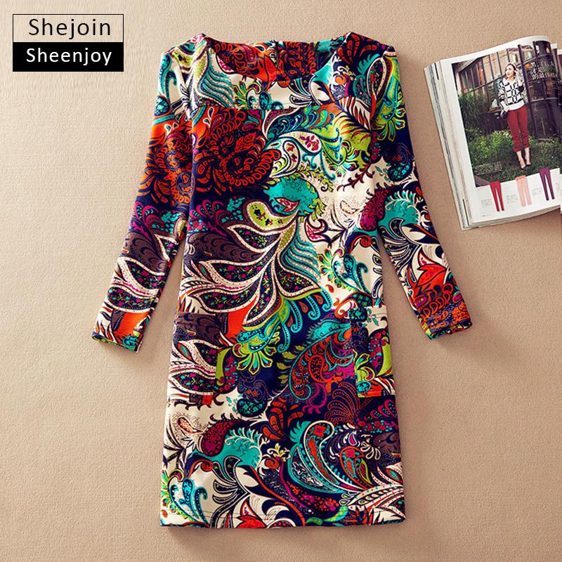 ShejoinSheenjoy Winter dresses long sleeve Fall Dresses Vintage Floral Print Women Dress Casual Autumn Dress Plus size Clothes(China (Mainland))