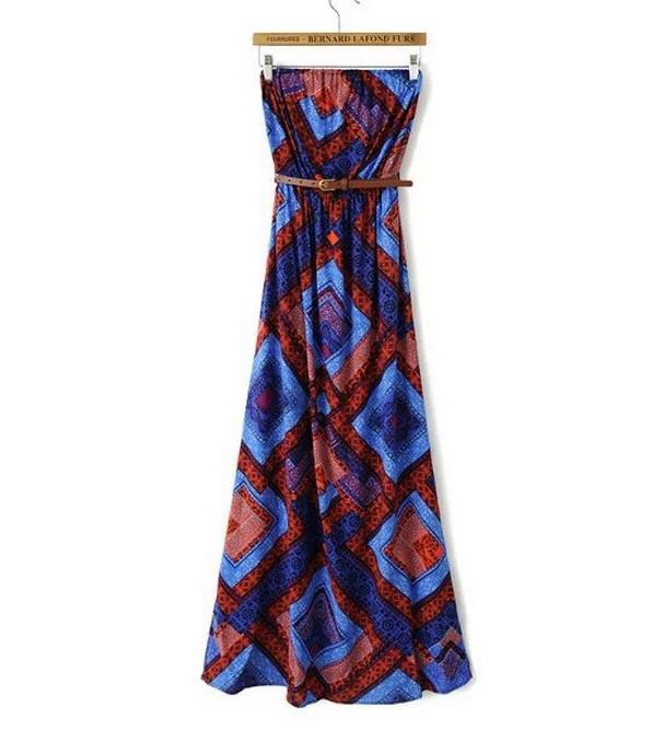 Romantic 2015 Western Style Women Shoulder Dress contrast color geometric print, sashes & strapless LF1906 - Autti Center store
