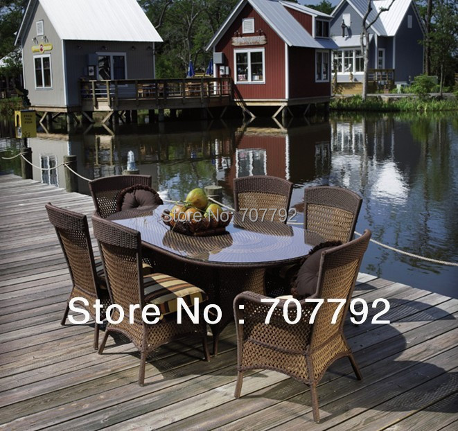 2014 Wicker Antique furniture for the garden 7pcs table and chairs Dining Set(China (Mainland))