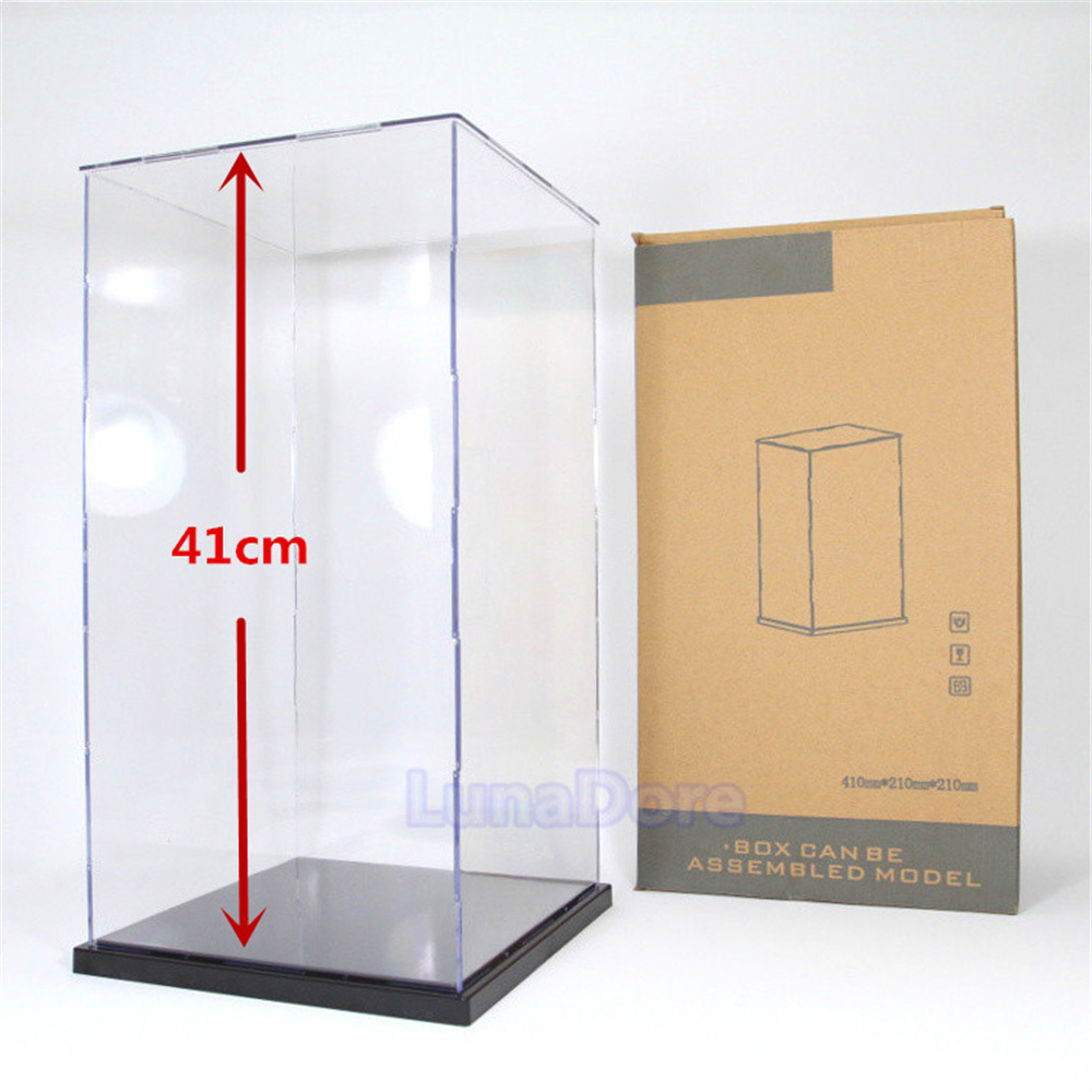 "Ship From US Acrylic Assembly Display Case/Box 16"" Height Perspex Dustproof Big Size For 1:60 Gundam 1:6 Doll Red Wine Bottle(China (Mainland))"