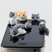 The New Cheese Cat Mobile Phone Dust Plug Dust Cap Six Styles Super Cute Little Kitty Earphone Jack Accessory Phone Jewelry