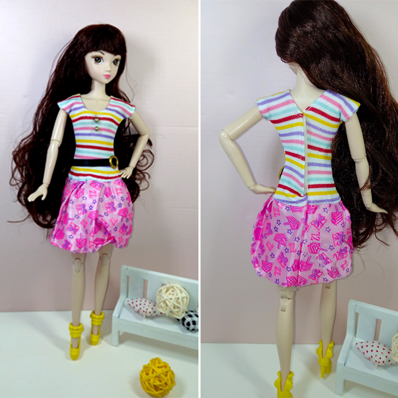 Rainbow Striped Dolls Garments For Barbie Dollhouse Costume Social gathering Robe Summer season Quick Sleeve Clothes Vestidos for Barbie Doll