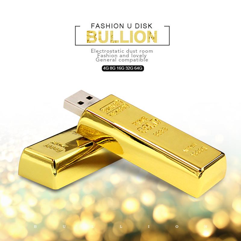 Top Quality Luxury USB Flash Pen Driver 4GB 8GB 16GB 32GB Gold Golden Bar USB 2.0 Flash Memory Drive Pendrive Driver Stick disk(China (Mainland))