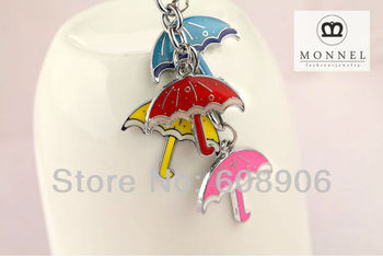 Z160 Cute Rainning Colorful Umbrella Charms Keychain